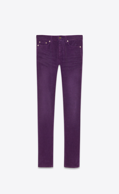 SAINT LAURENT Skinny fit Man Low-rise skinny jeans in purple corduroy a_V4