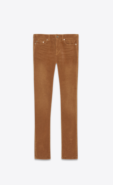 SAINT LAURENT Skinny fit Man Low-rise skinny jeans in caramel corduroy a_V4