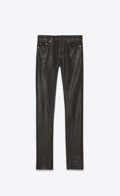 SAINT LAURENT Skinny fit Man Low-rise skinny jeans in oiled black denim a_V4