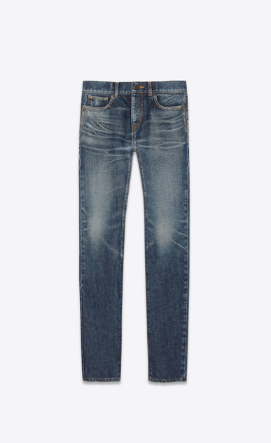 SAINT LAURENT Skinny fit Man Low-rise skinny jeans in worn-look blue denim a_V4