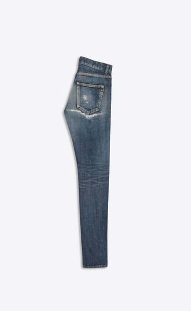 SAINT LAURENT Skinny fit Man Low-rise skinny jeans in worn-look blue denim b_V4