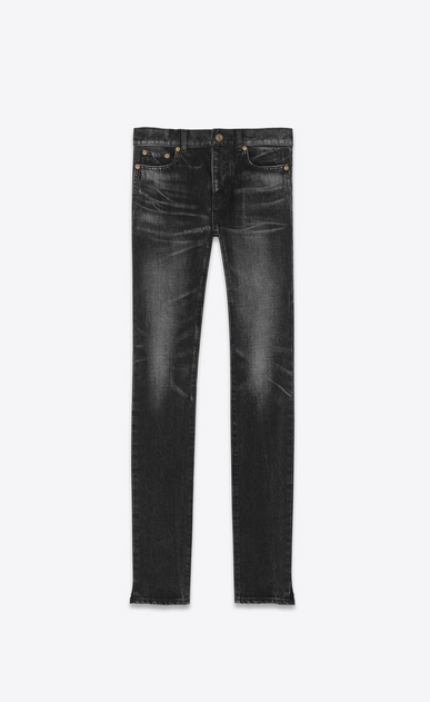 SAINT LAURENT Skinny fit Man Low-rise skinny jeans in worn-look black denim a_V4