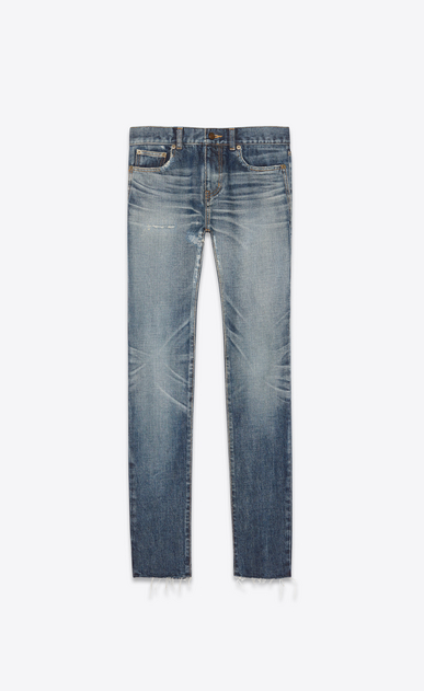 SAINT LAURENT Skinny fit Man Low-rise skinny jeans in worn-look faded blue denim a_V4