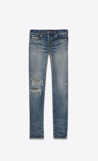 SAINT LAURENT Skinny fit Man Low-rise skinny jeans in faded blue destroy denim a_V4