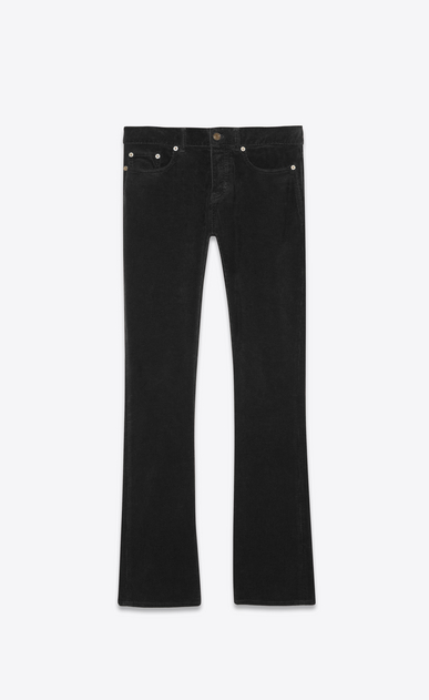 SAINT LAURENT Denim Pants Man Low-rise bootcut jeans in black corduroy a_V4