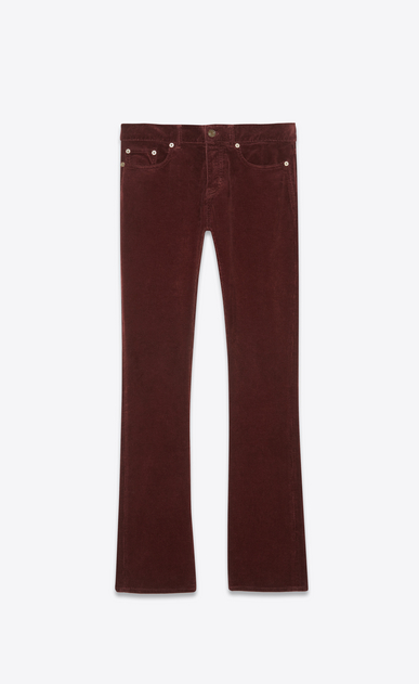 SAINT LAURENT Denim Pants Man Low-rise bootcut jeans in burgundy corduroy a_V4