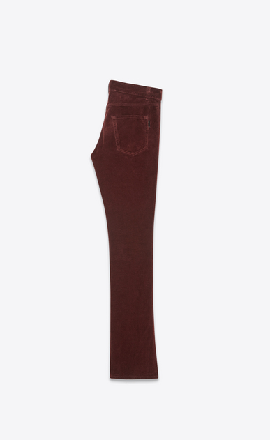 SAINT LAURENT Denim Pants Man Low-rise bootcut jeans in burgundy corduroy b_V4