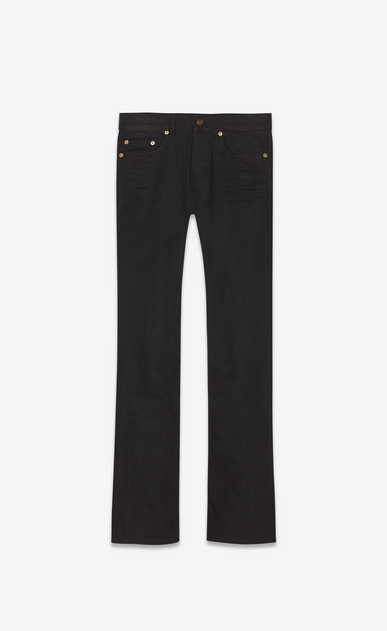 SAINT LAURENT Denim Trousers Man Low-rise bootcut jeans in black denim a_V4