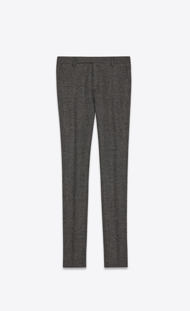 SAINT LAURENT Classic Pant Man Pants in black and white mini-check wool a_V4