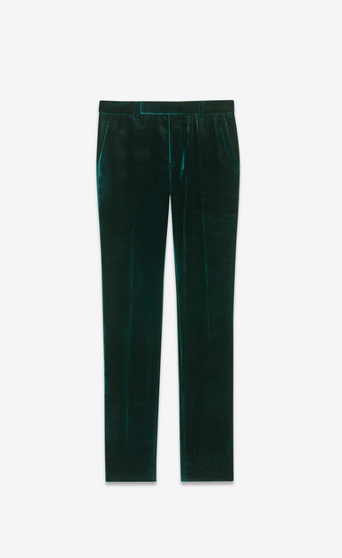 SAINT LAURENT Classic Pant Man Pants in teal blue velvet a_V4