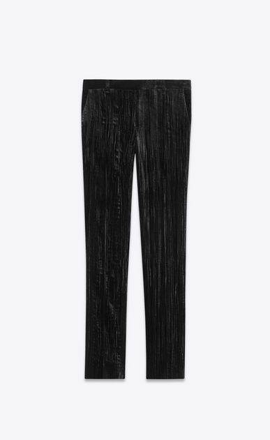 SAINT LAURENT Classic Pant Man Pants in crinkled black velvet a_V4