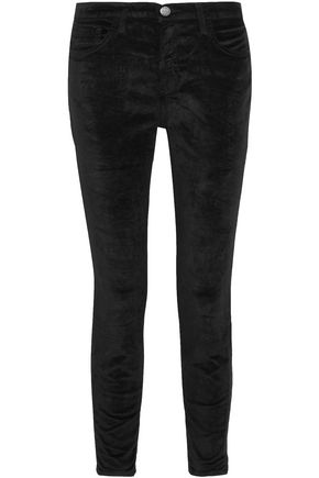 CURRENT/ELLIOTT The Stiletto velvet slim-leg pants