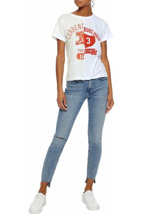 CURRENT/ELLIOTT Stiletto cropped distressed mid-rise skinny jeans