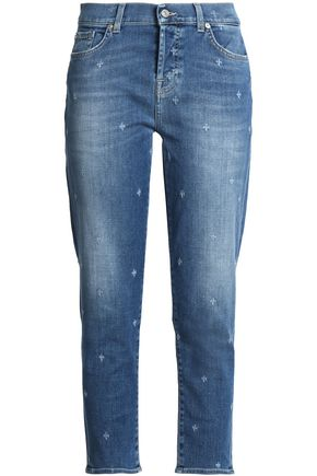 7 FOR ALL MANKIND Josefina distressed mid-rise slim-cut jeans