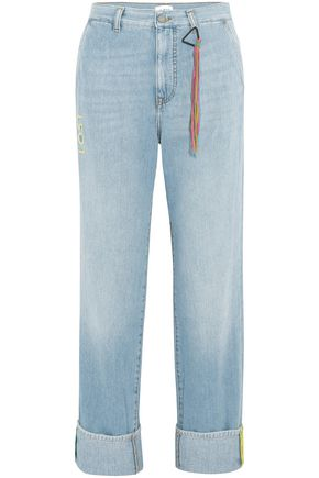 Lost Ribbon Embroidered Boyfriend Jeans by Mira Mikati