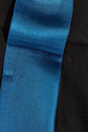 MUGLER Satin-trimmed wool slim-leg stirrup pants