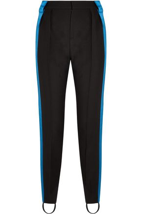MUGLER Satin-trimmed wool slim-leg stirrup pants