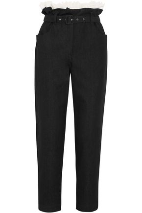 ISA ARFEN Paper Bag broderie anglaise-trimmed cotton-blend twill straight-leg pants