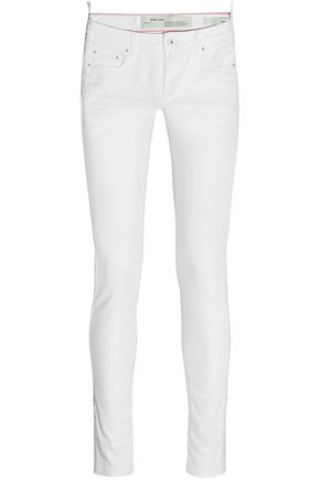 OFF-WHITE™ Embroidered mid-rise skinny jeans