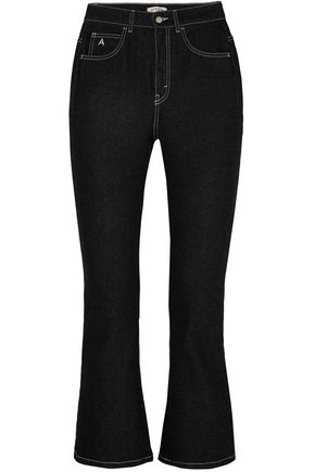ATTICO Cropped high-rise kick-flare jeans