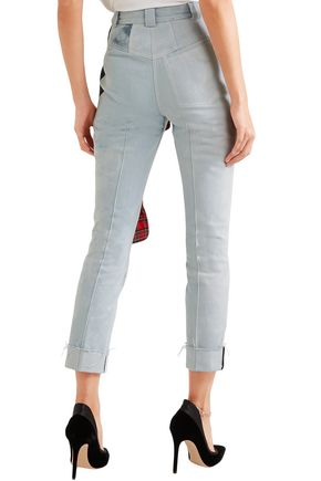 RONALD VAN DER KEMP Cropped flannel-trimmed painted high-rise slim-leg jeans