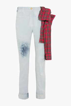 RONALD VAN DER KEMP Cropped flannel-trimmed painted high-rise slim-leg jeans