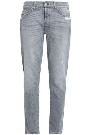7 FOR ALL MANKIND Josefina distressed mid-rise slim-leg jeans