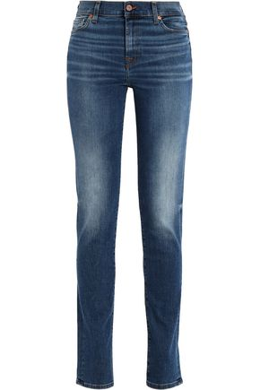 7 FOR ALL MANKIND Rozie faded mid-rise slim-leg jeans