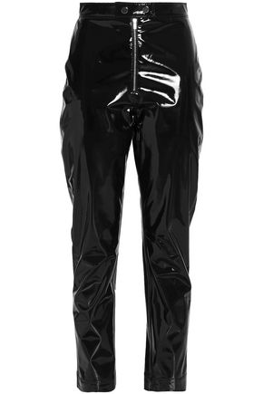 MSGM Cropped PVC slim-leg pants
