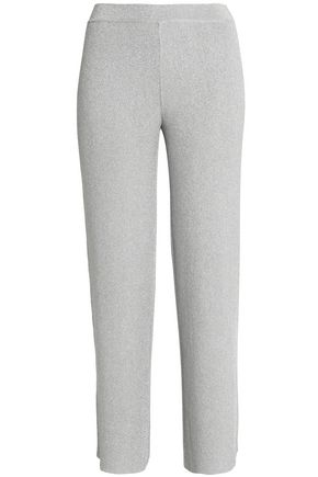 MISSONI Cropped metallic crochet-knit straight-leg pants