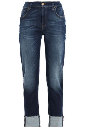7 FOR ALL MANKIND Cropped distressed boyfriend jeans
