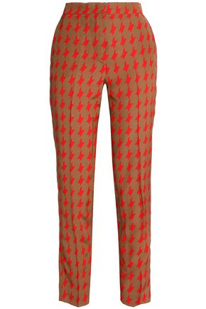 MSGM Houndstooth satin slim-leg pants