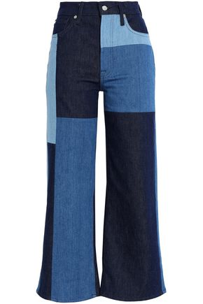 7 FOR ALL MANKIND Cropped patchwork high-rise wide-leg jeans