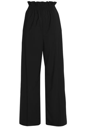 MSGM Gathered wool-blend wide-leg pants