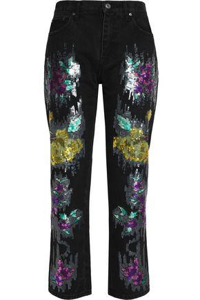 MSGM Sequinned straight-leg pants