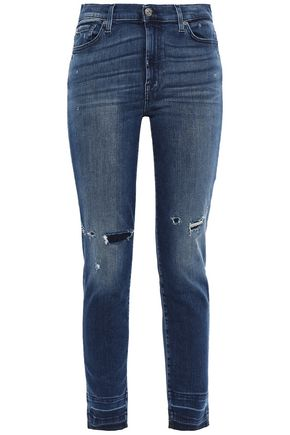 7 FOR ALL MANKIND Bleached high-rise skinny jeans