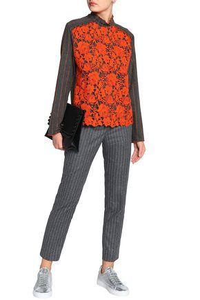 MSGM Pinstriped wool-blend slim-leg pants