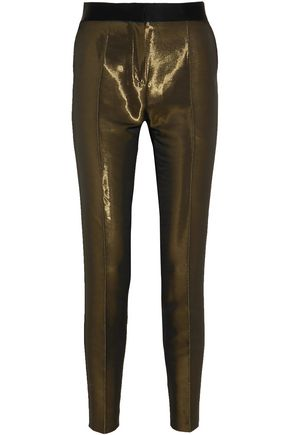 PALLAS Satin-trimmed metallic crepe skinny pants
