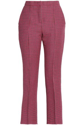 MSGM Cropped checked wool straight-leg pants