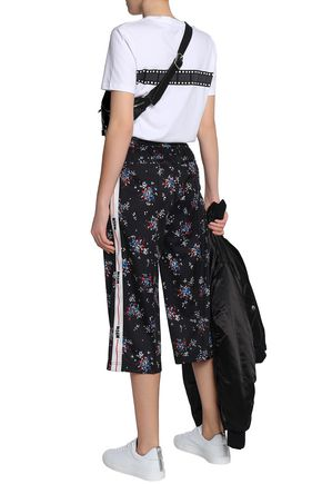 MSGM Cropped floral-print jersey track pants