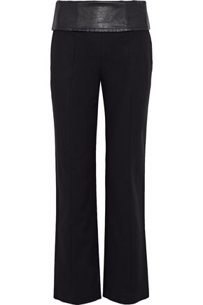 HELMUT LANG Leather-trimmed lace-up stretch-cotton straight-leg pants