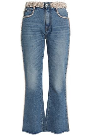 MSGM Faux pearl-embellished high-rise bootcut jeans
