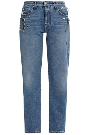 MSGM Crystal-embellished mid-rise straight-leg jeans