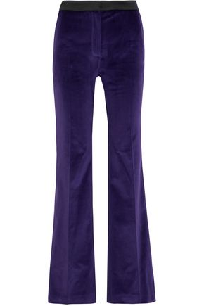 PALLAS Satin-trimmed cotton-velvet flared pants
