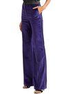 PALLAS Satin-trimmed cotton-velvet flared pants