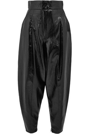 WANDA NYLON Pleated textured-vinyl tapered pants