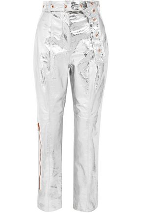 PROENZA SCHOULER Belted metallic textured-leather straight-leg pants