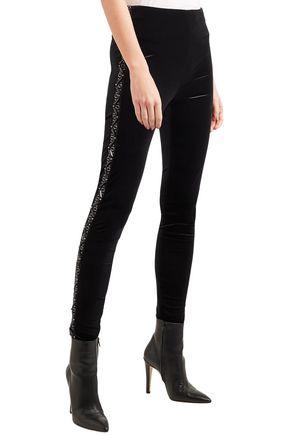 KOCHÉ Embellished organza-trimmed velvet skinny pants
