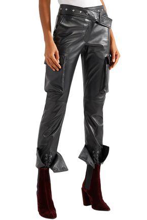 MONSE Lace-up leather skinny pants