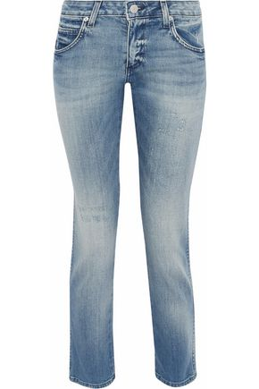 AMO Kate distressed low-rise slim-leg jeans